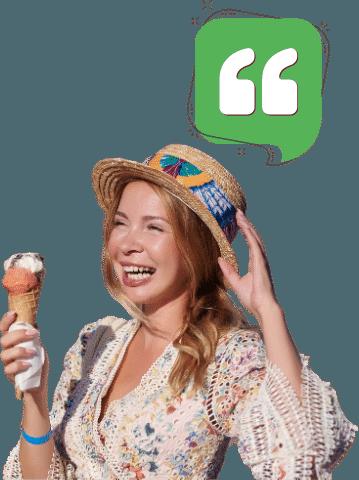 Testimonial Frau mit Eis