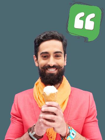 Testimonial Mann mit Eis